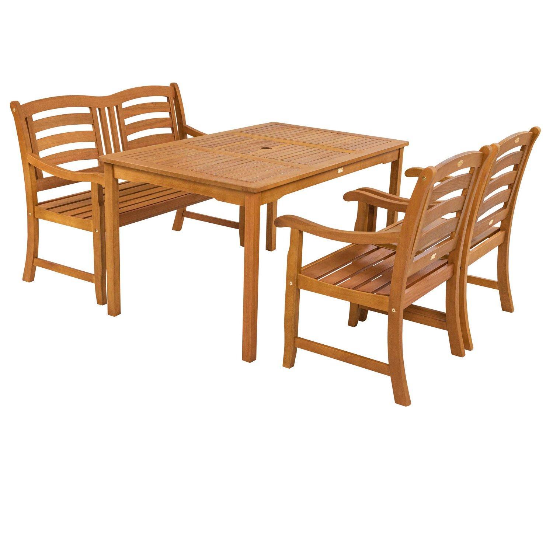 Gartenmöbel Set Holz Metall Mit Bank