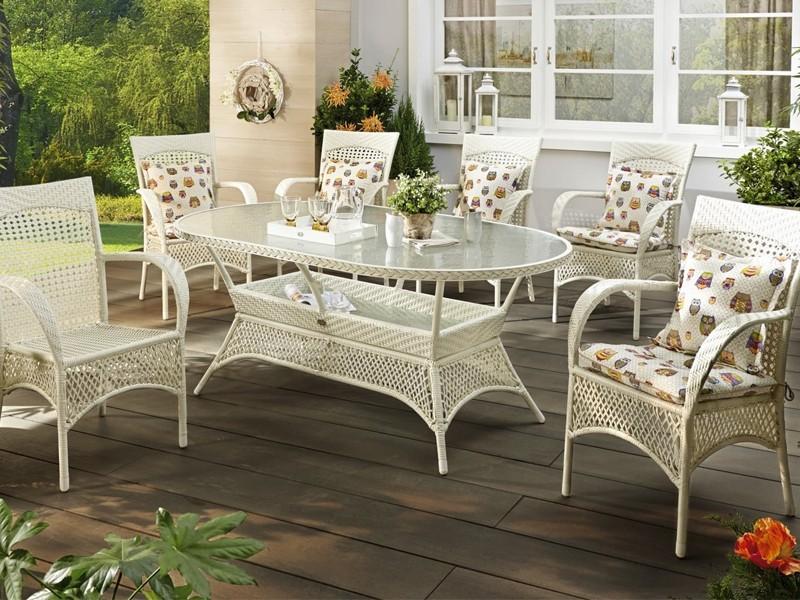 Gartenmöbel Weiß Rattan
