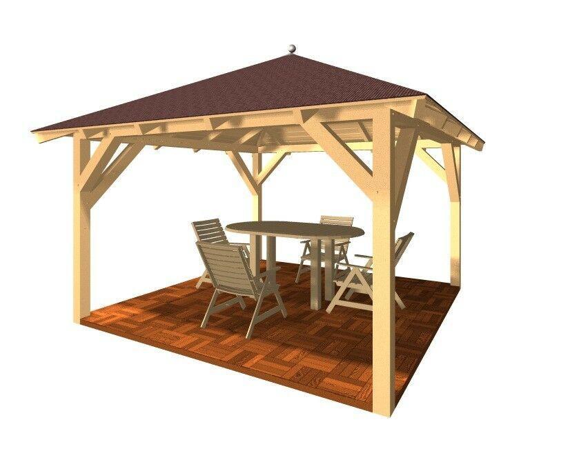 Gartenpavillon Holz Flachdach