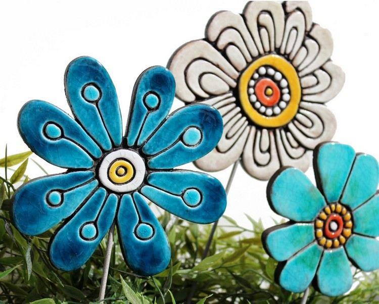 Gartenstecker Keramik Blume