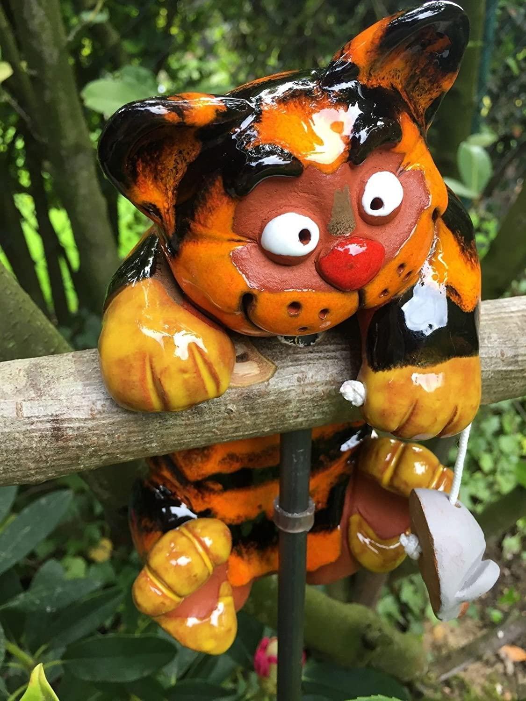Gartenstecker Keramik Katze