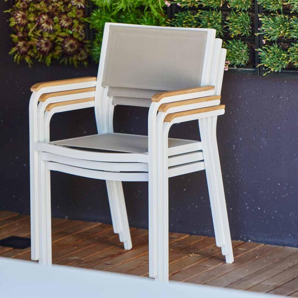 Gartenstuhl Weiß Aluminium