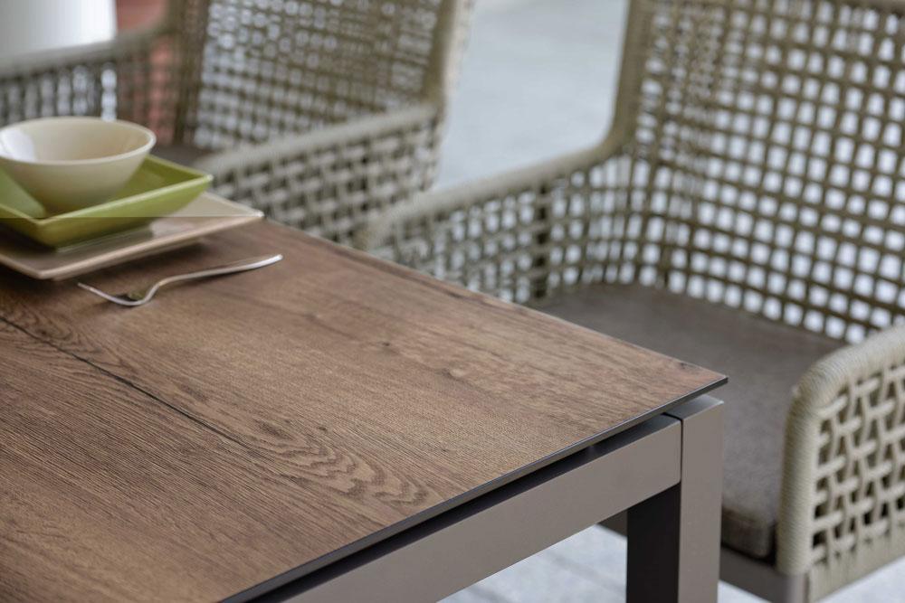 Gartentisch Aluminium Holzoptik