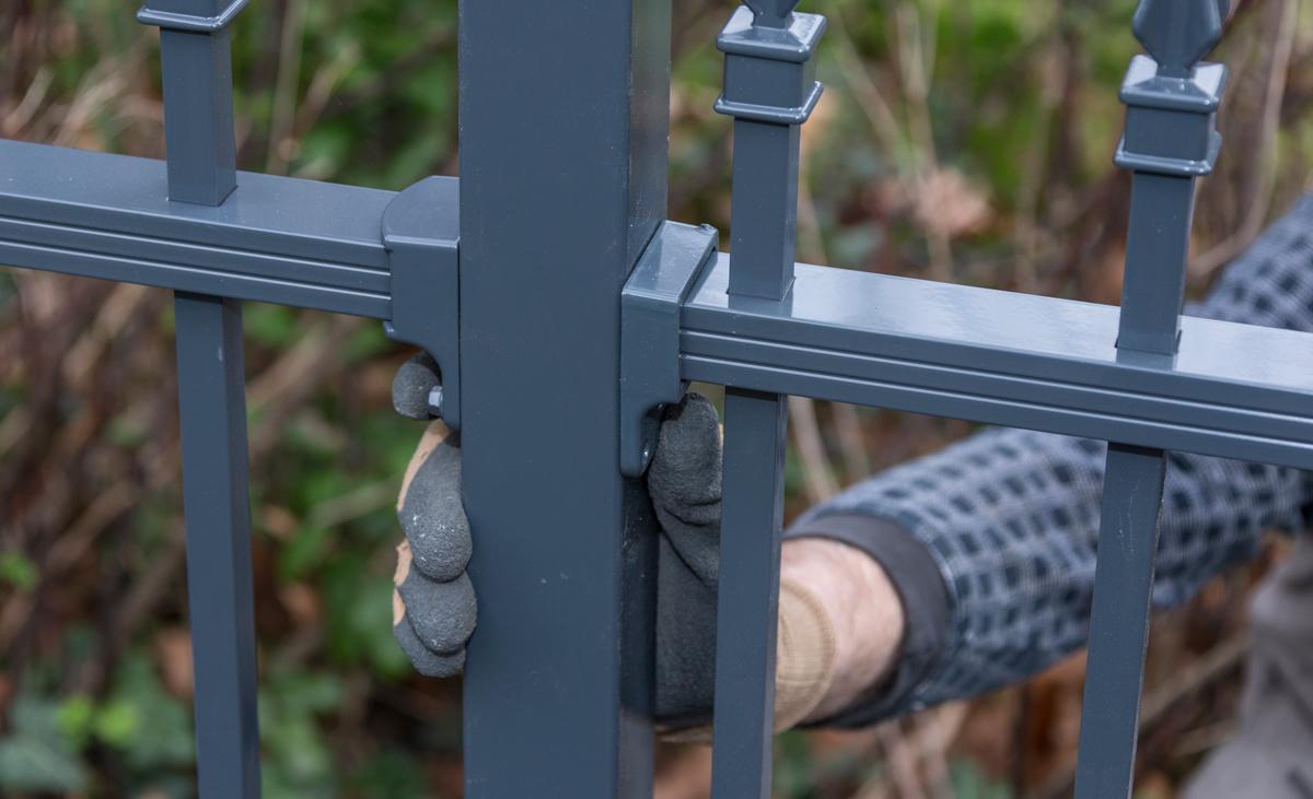 Gartenzaun Metall Grau