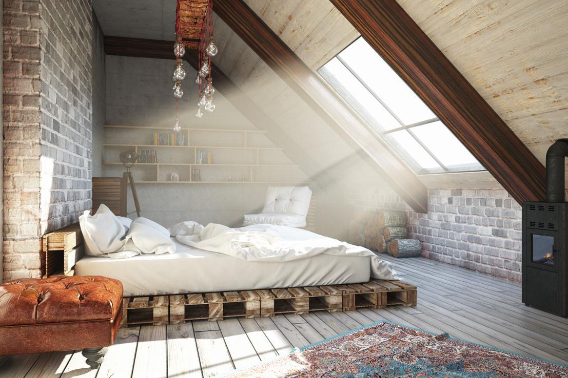 Gemütliches Schlafzimmer Dachschräge