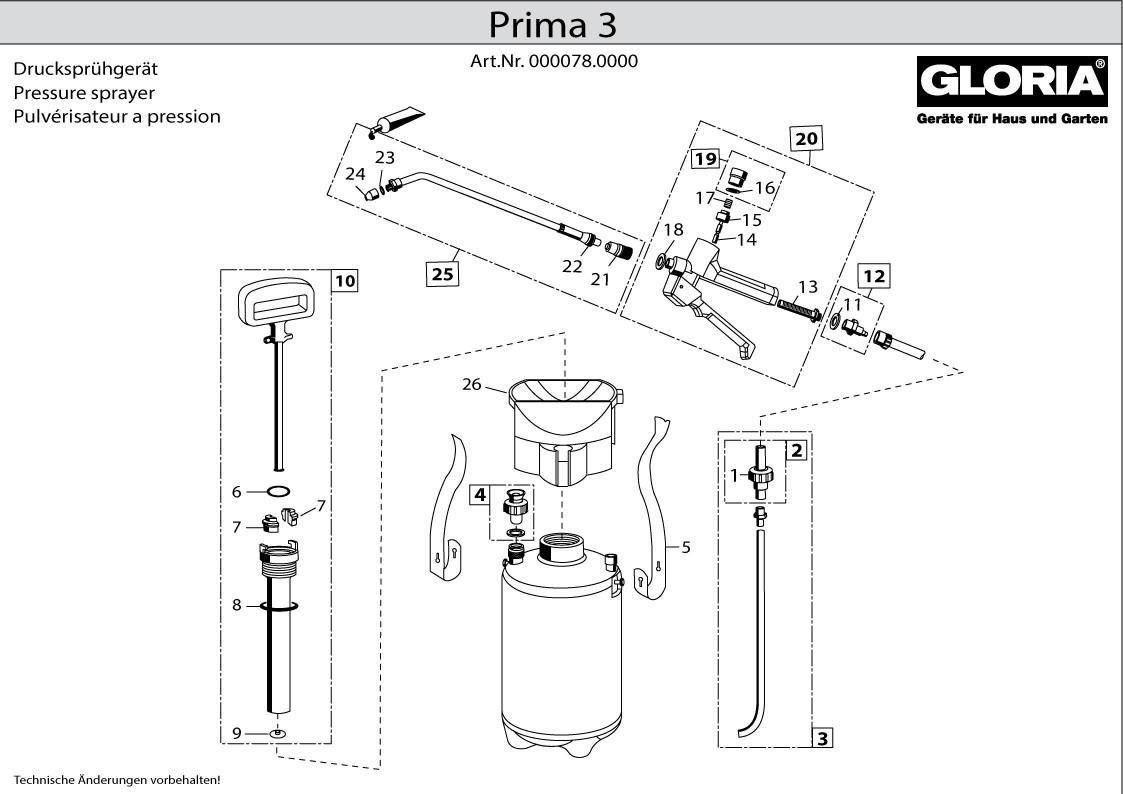 Gloria Drucksprüher Prima 5 Ersatzteile