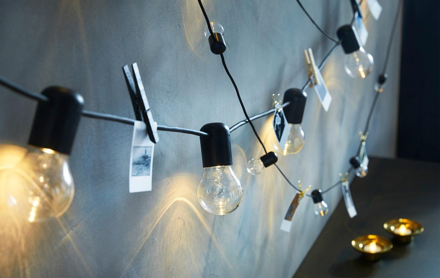 Glühbirnen Lichterkette Wohnzimmer