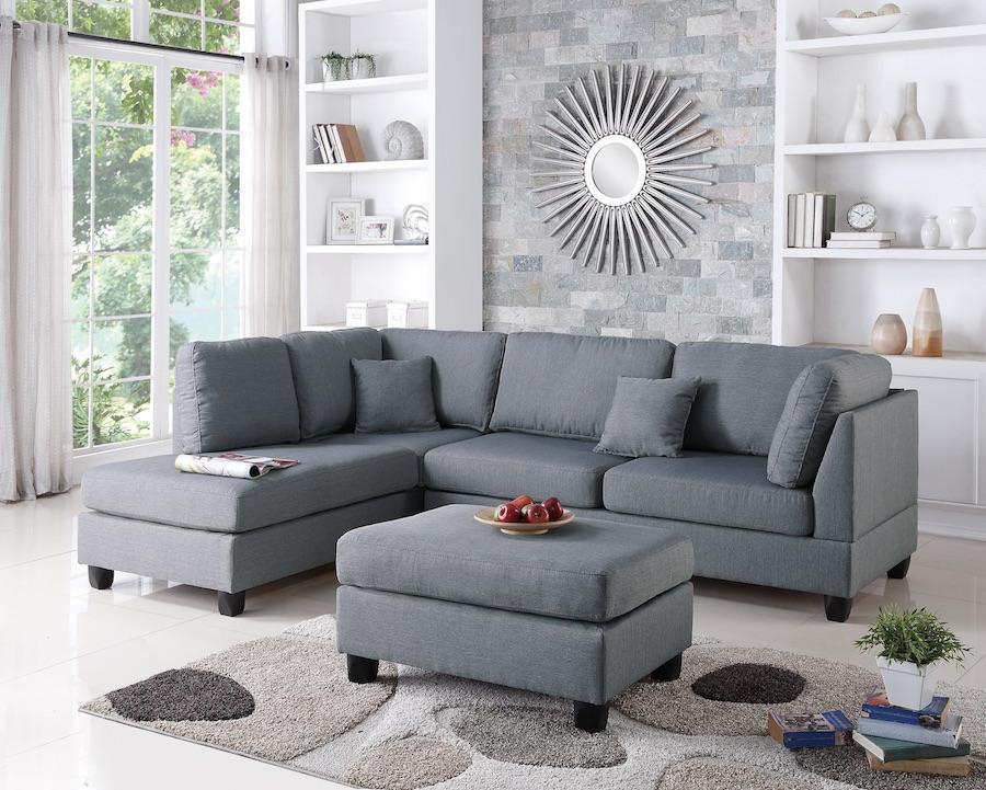 Grey Couch Ottoman