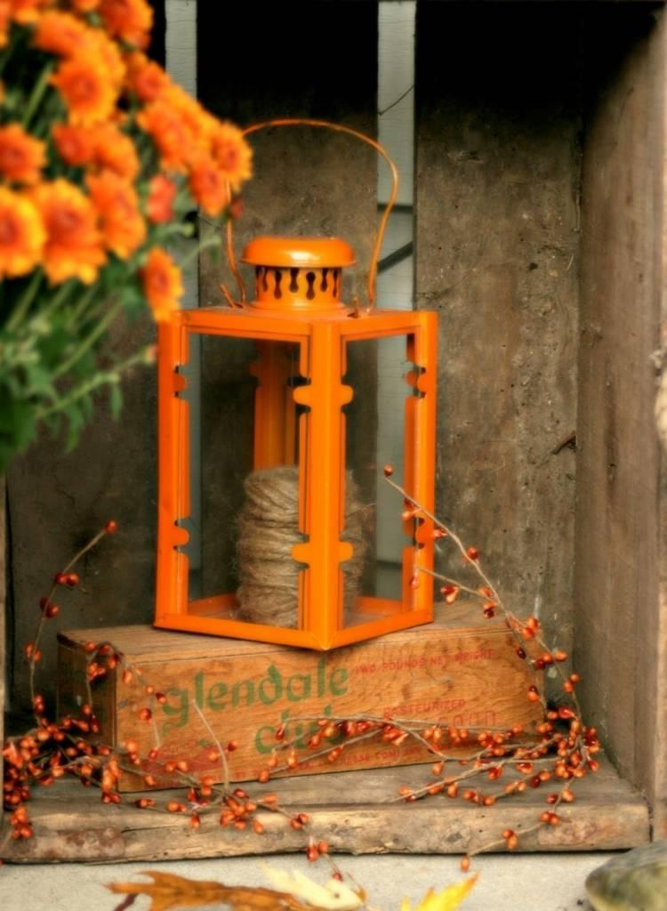 Große Laterne Dekorieren Herbst