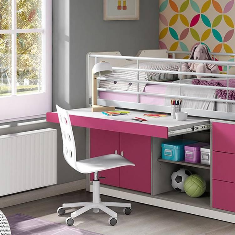 Halbhohes Kinderbett Mit Schreibtisch
