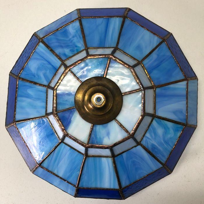 Hängelampe Glas Blau