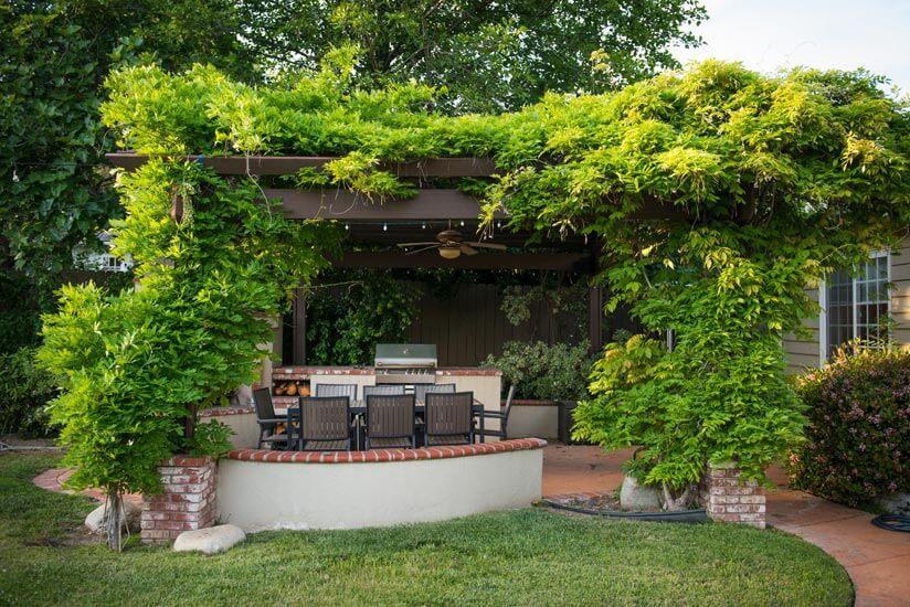 Holz Sichtschutz Terrasse Pflanzen