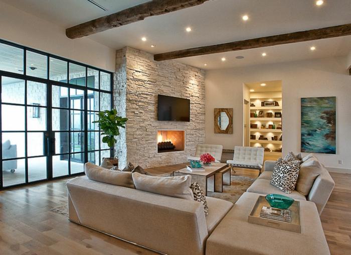 Ideen Wandgestaltung Steinwand Wohnzimmer