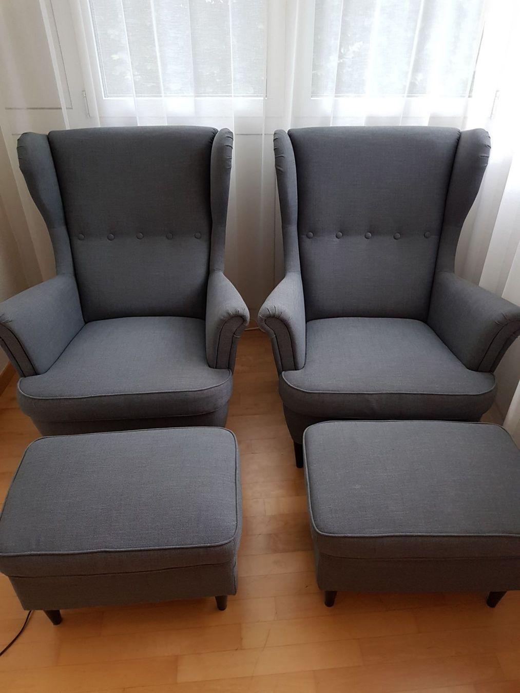 Ikea Sessel Mit Hocker Grau