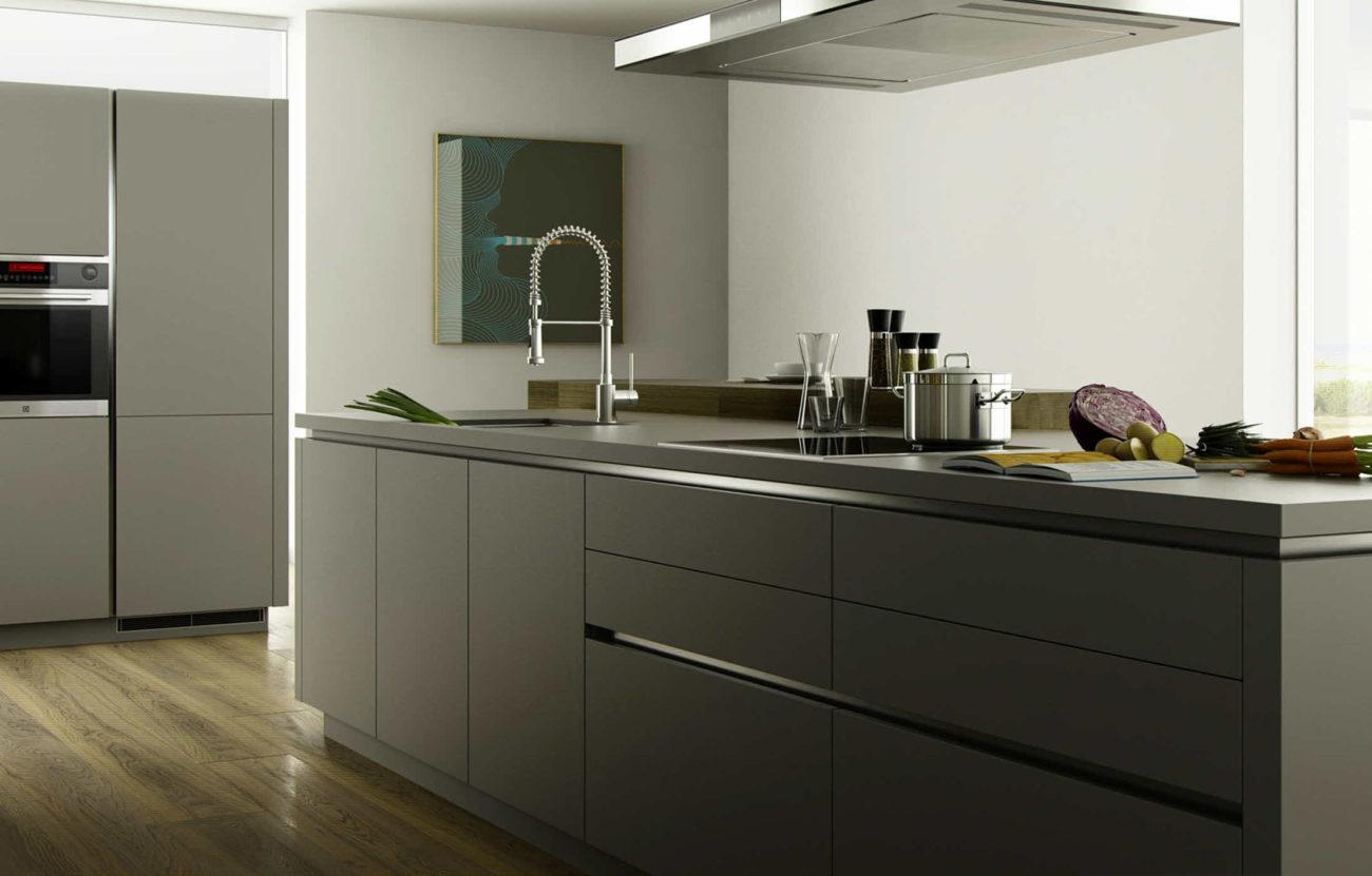 Küche Grau Matt Mit Holz