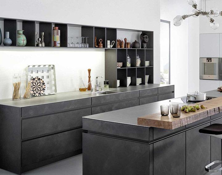 Küche Holz Anthrazit
