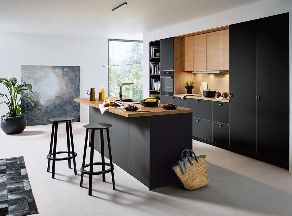 Küche Holzoptik Schwarz