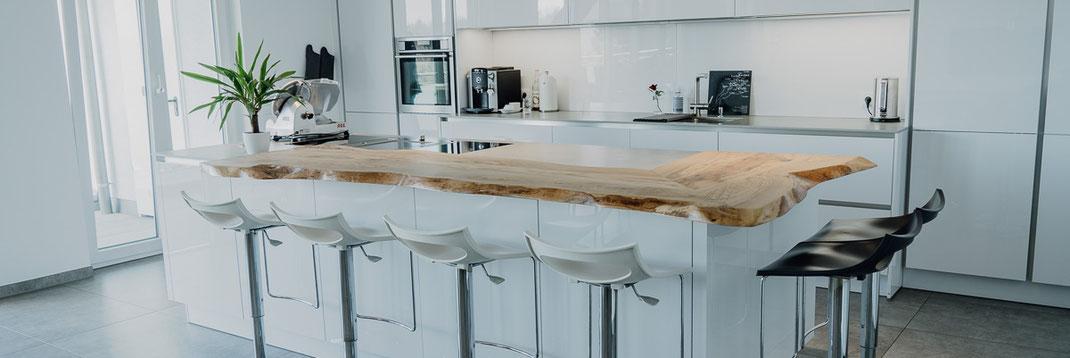 Küche Mit Theke Holz