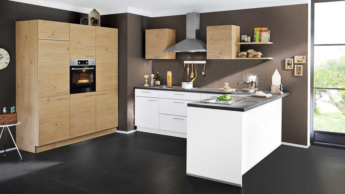 Küche Weiß Holzoptik