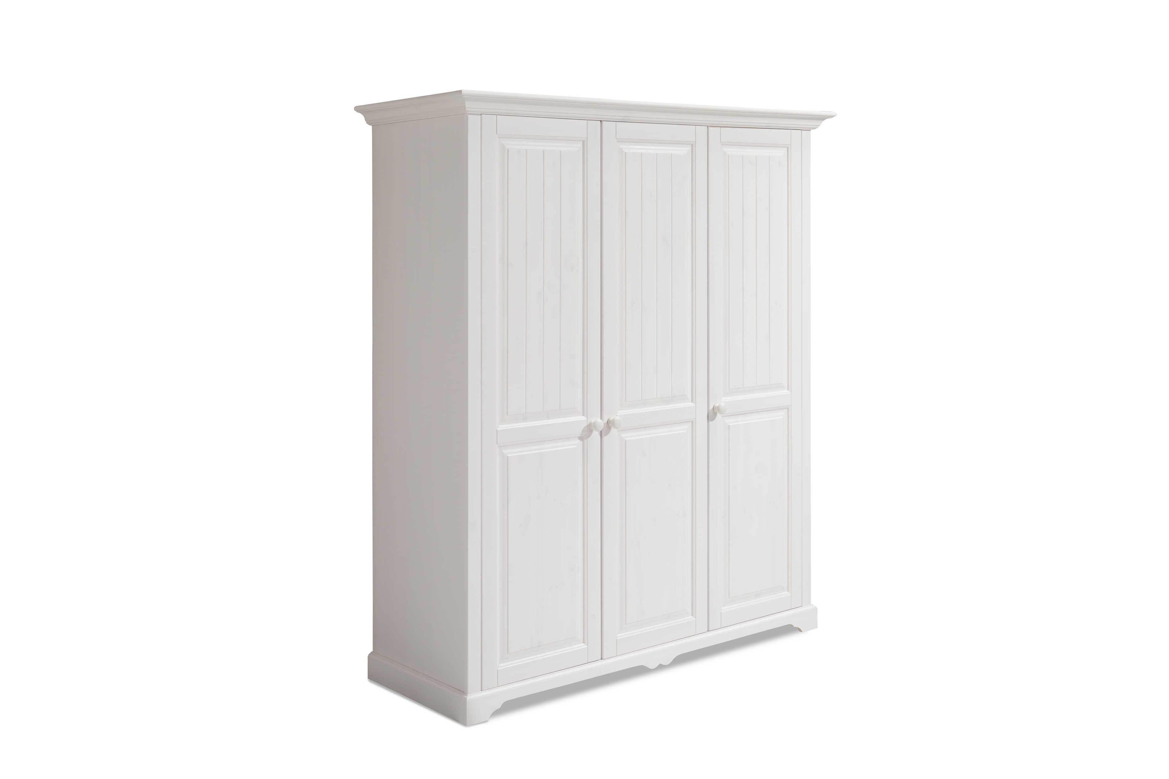 Kleiderschrank 3 Türig Weiß Holz