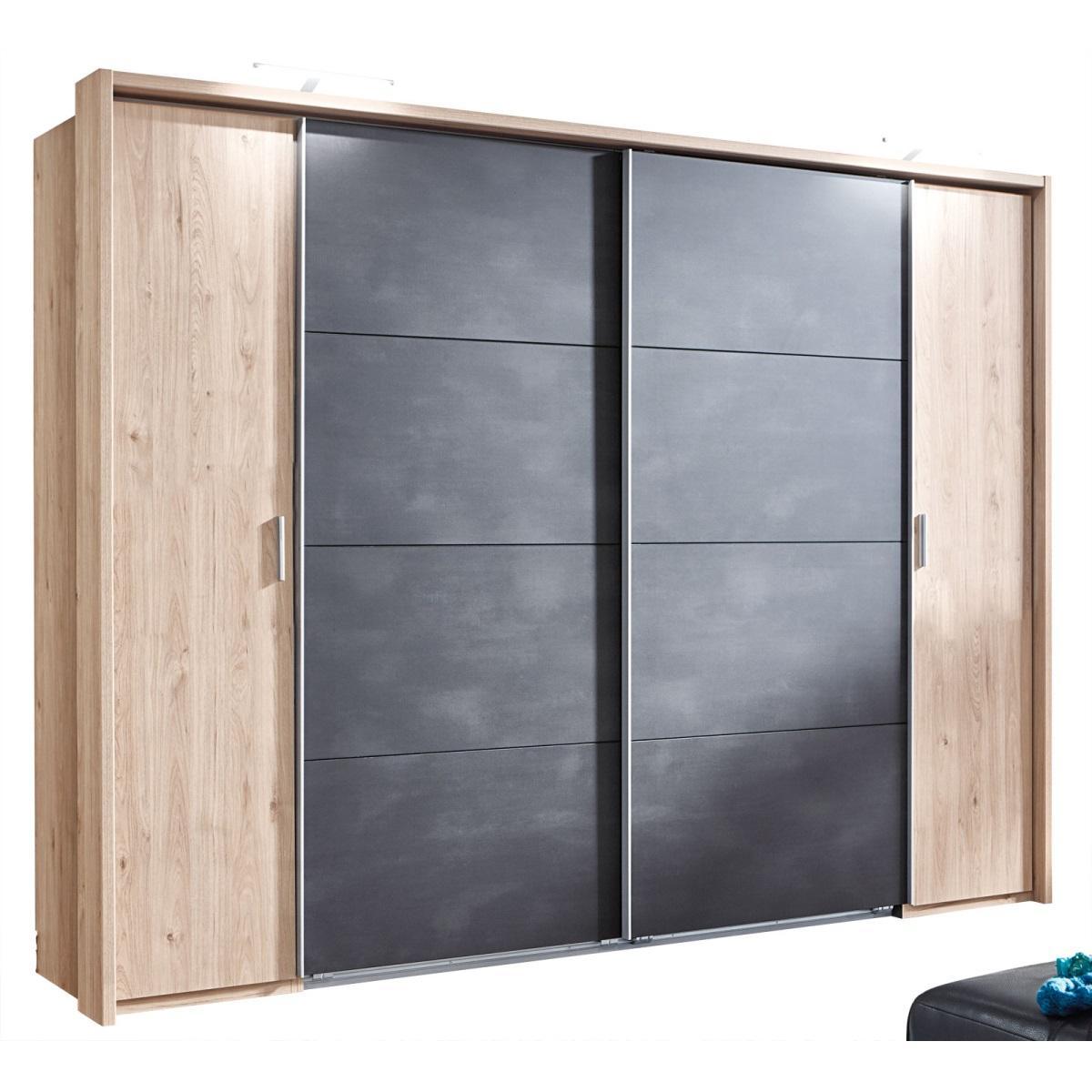 Kleiderschrank Holz Grau