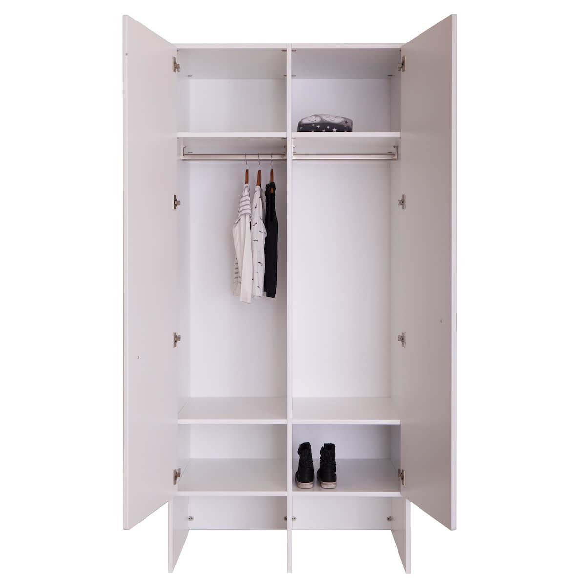 Kleiderschrank Weiß 2 Türig