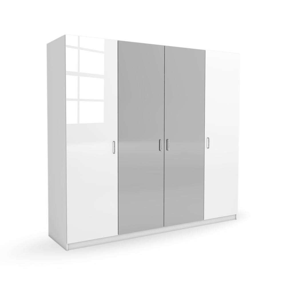 Kleiderschrank Weiß Grau Hochglanz