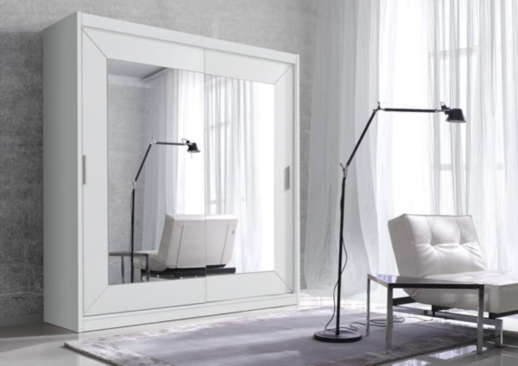 Kleiderschrank Weiß Schiebetüren Spiegel