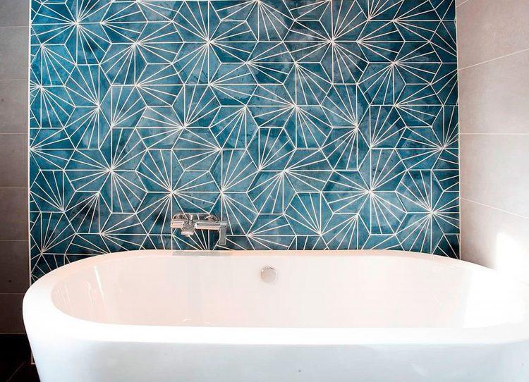 Kleines Blaues Badezimmer