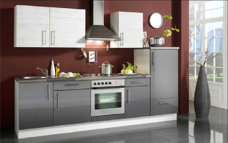 Küche Hochglanz Weiss Grau