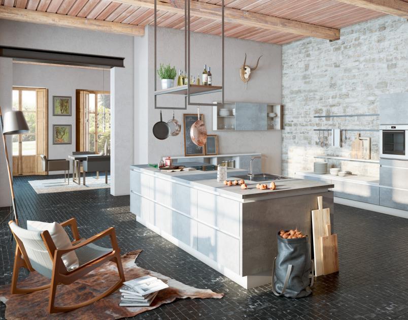 Küche Mit Kochinsel Holz