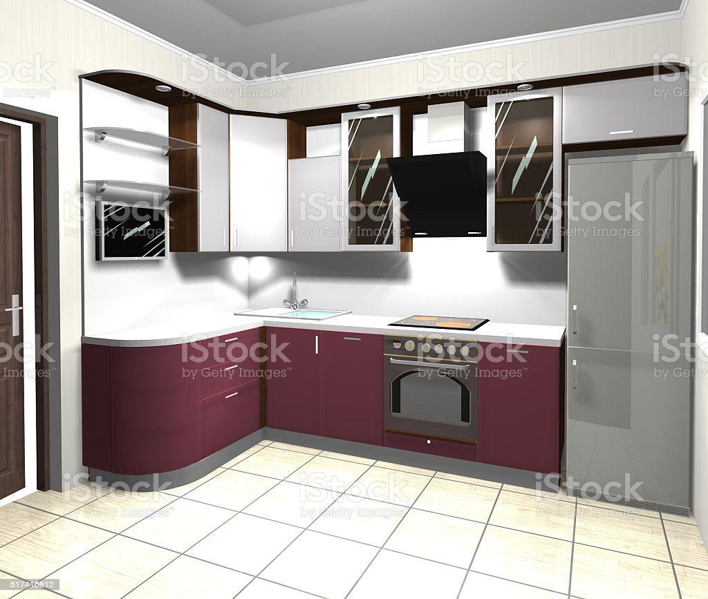 Küche Rot Grau
