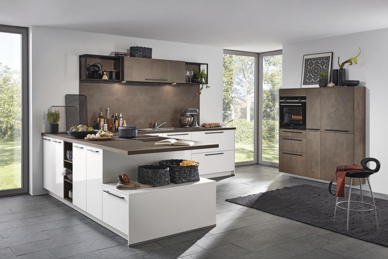 Küche Weiß Hochglanz Mit Holz