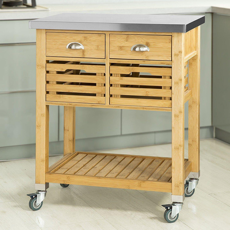 Küchenwagen Edelstahl Holz