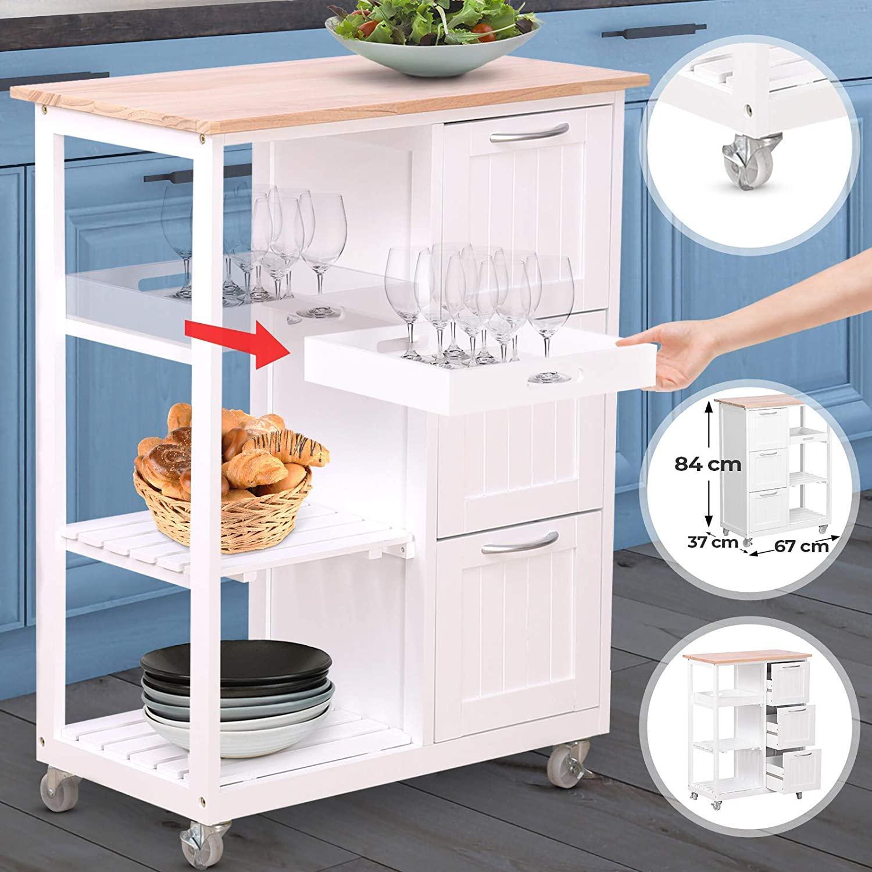 Küchenwagen Holz Grau