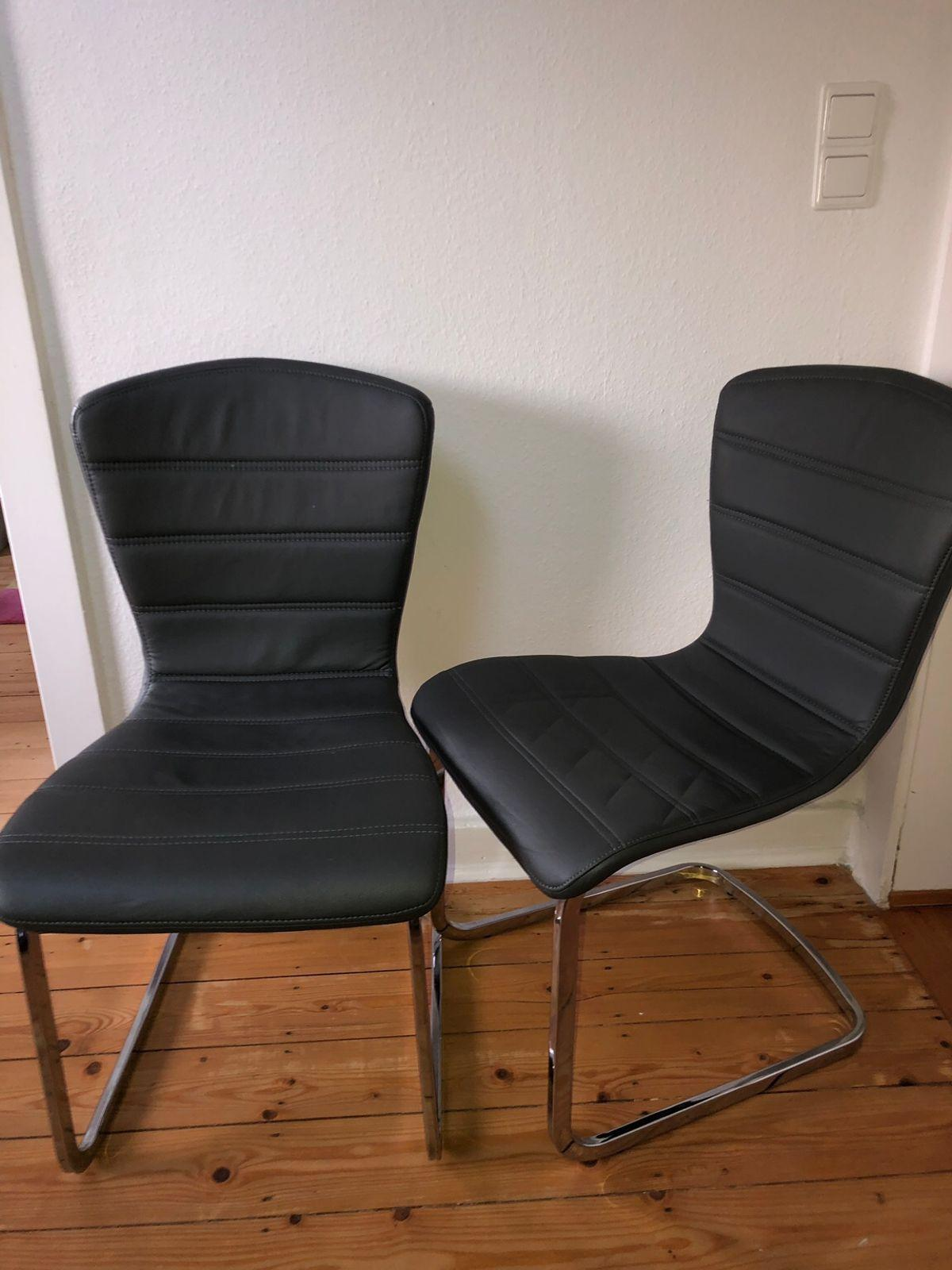 Kunstleder Stühle Grau