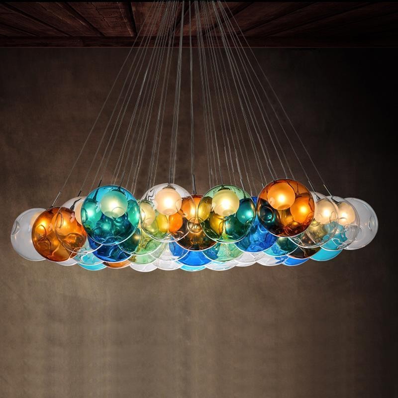 Lampe Glaskugel Bunt
