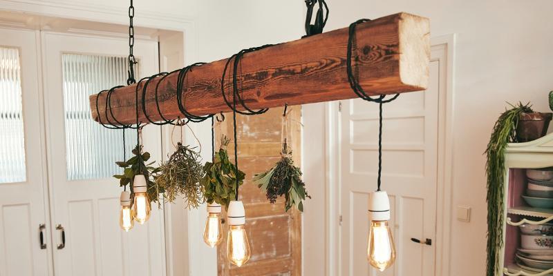 Lampe Holzbalken Diy