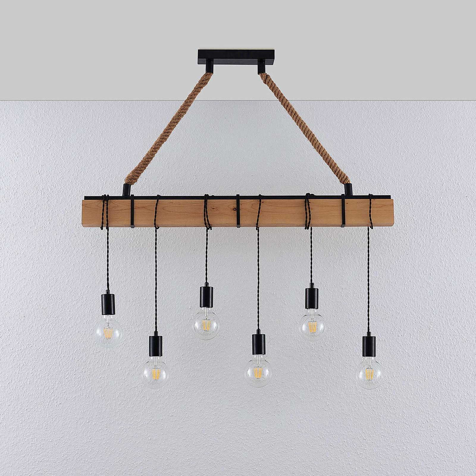 Lampe Holzbalken Wand