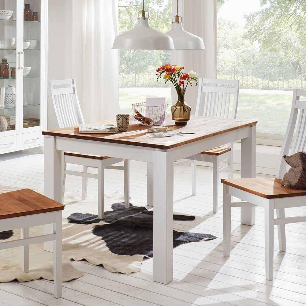 Landhausstil Esstisch Weiß Holz