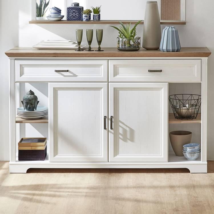 Landhausstil Wohnwand Weiß Holz