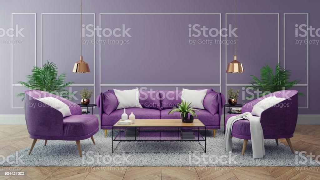 Lila Wohnzimmer Wand