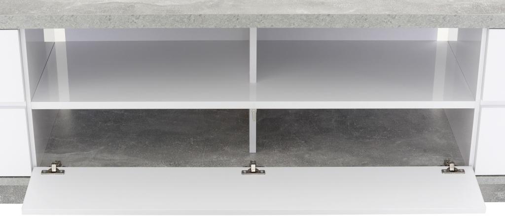 Lowboard Betonoptik Weiß