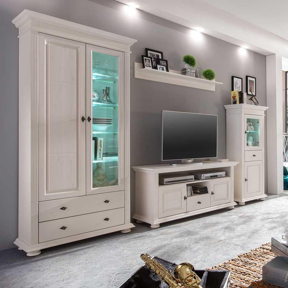 Modern Wohnwand Landhausstil Weiß