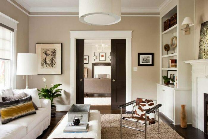 Modern Wohnzimmer Beige Weiß