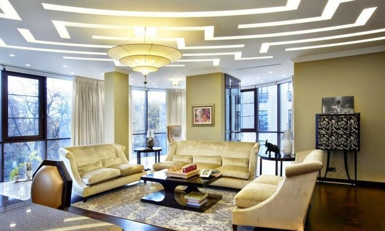 Moderne Deckengestaltung Wohnzimmer
