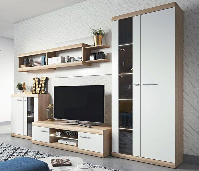 Moderne Wohnwand über Eck