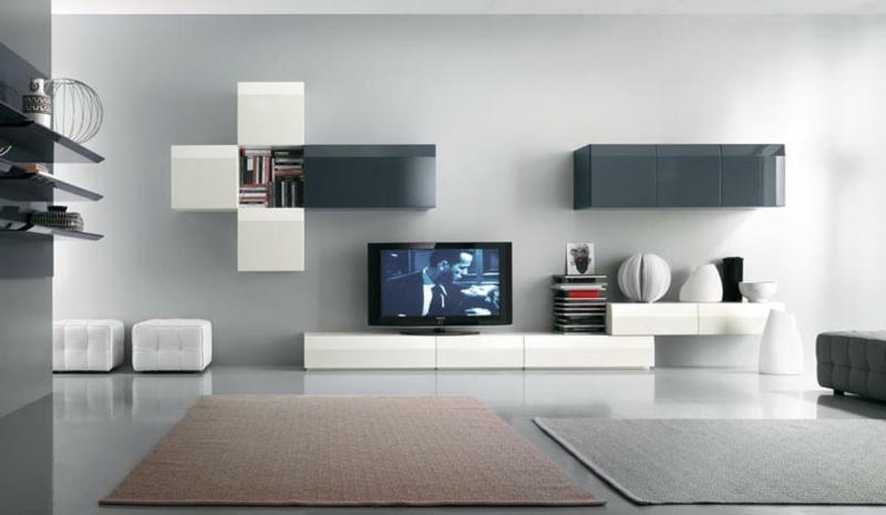 Moderne Wohnwand Weiß Holz