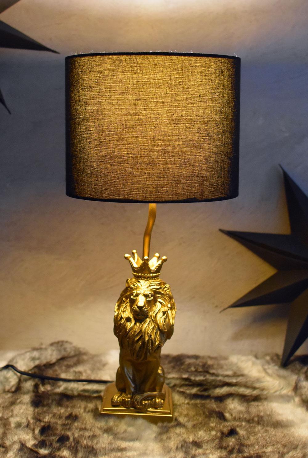 Nachttischlampe Gold Schwarz