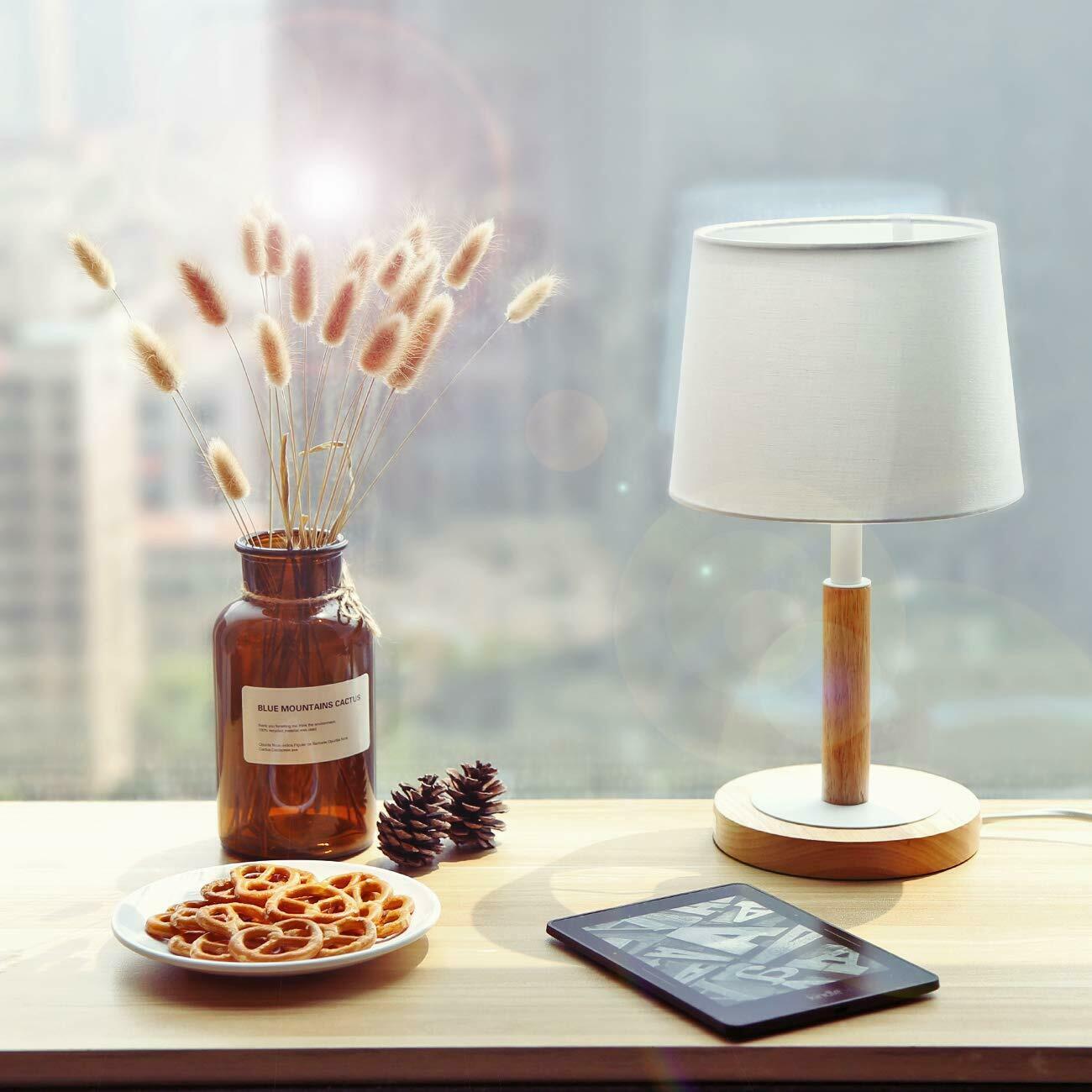 Nachttischlampe Holz Dimmbar